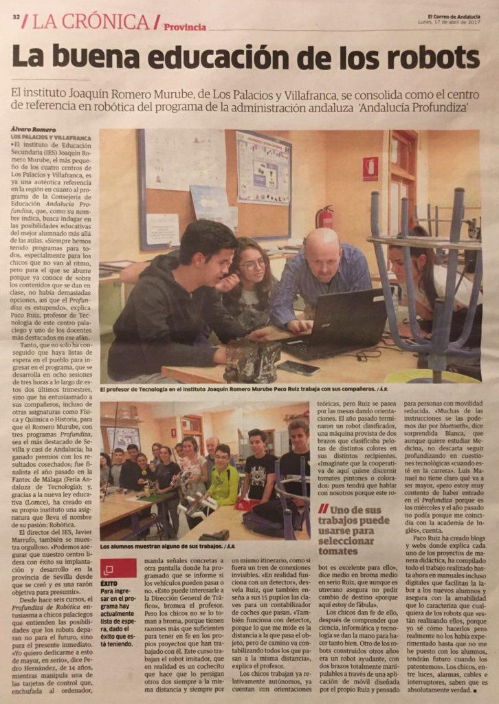 2017.04.17 El correo de Andalucía - La buena educación de los robots-p1